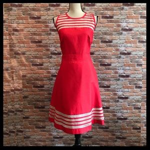 Taylor Fit N Flare Dress With See Through Stripes
